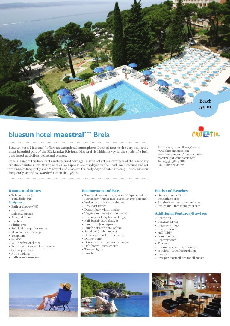 Bluesun Hotel Maestral in Brela, Makarska Riviera, Croatia