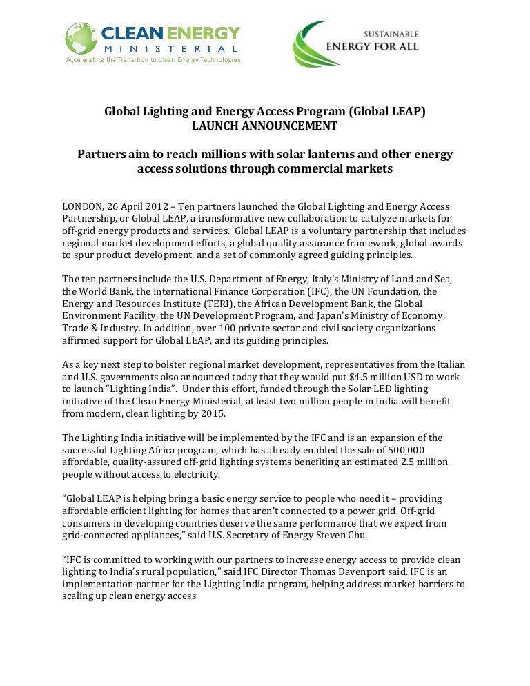 fact sheet on the global lighting and energy access partnership glob