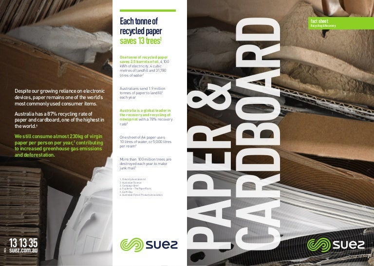 Paper and Cardboard Waste Australia Fact Sheet