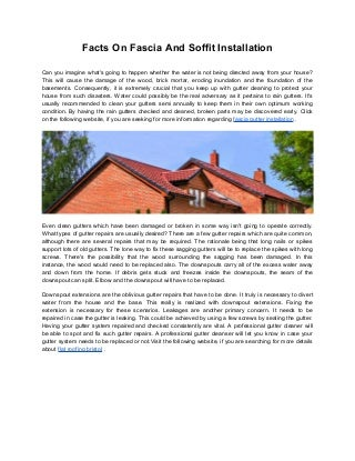Facts On Fascia And Soffit Installation