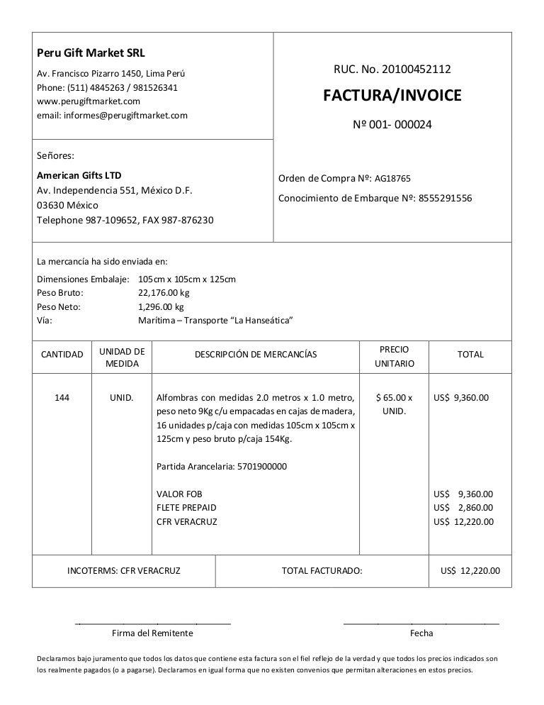 modelo de factura comercial commercial invoice llenada