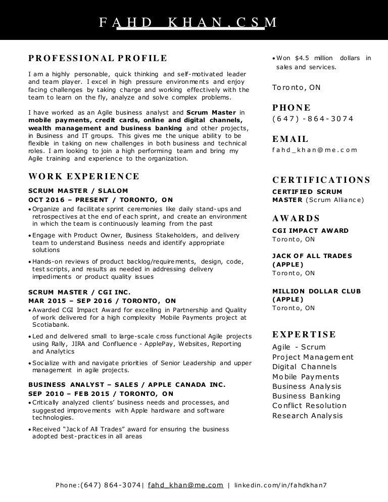 Scrum Master Resume – Scrum Master Resume