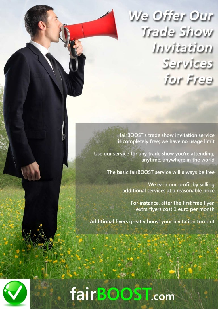 Fairboost we offer our trade show invitation services for free stopboris Gallery