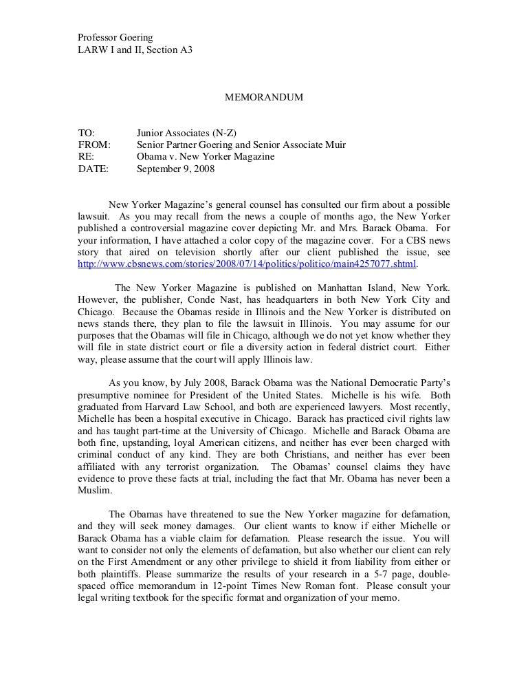 fall 2008 closed memo assignment obama v  new yorker