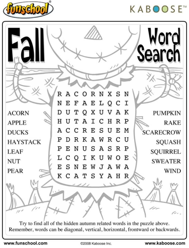 Fall word search