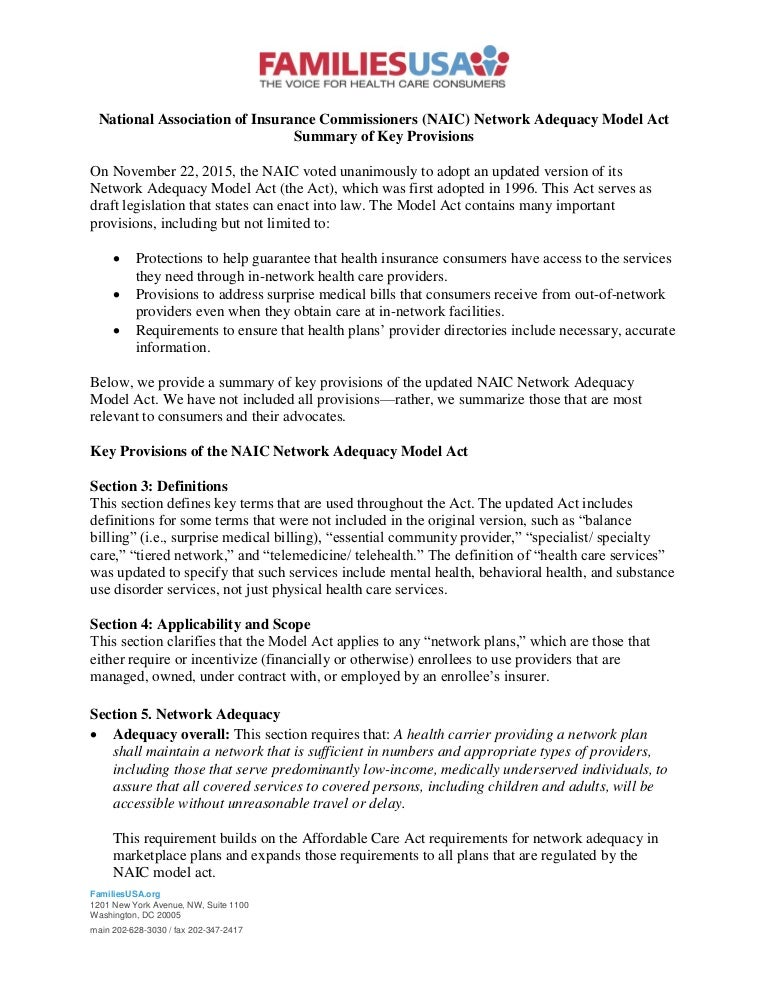 Families USA NAIC Network Adequacy Summary