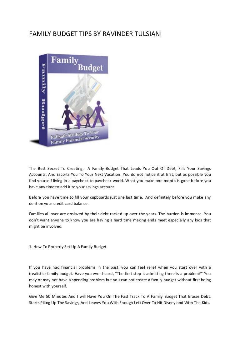 family budget tips by ravinder tulsiani