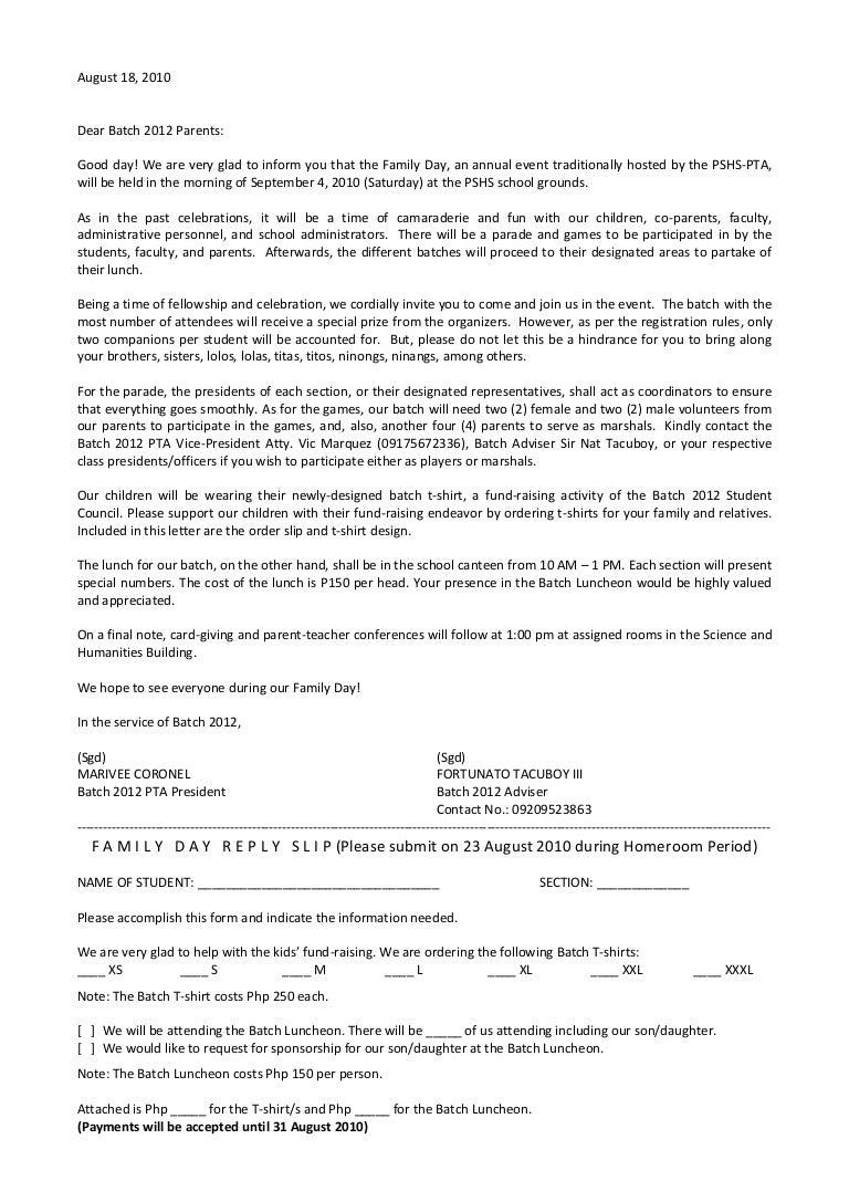 family day letter 2012