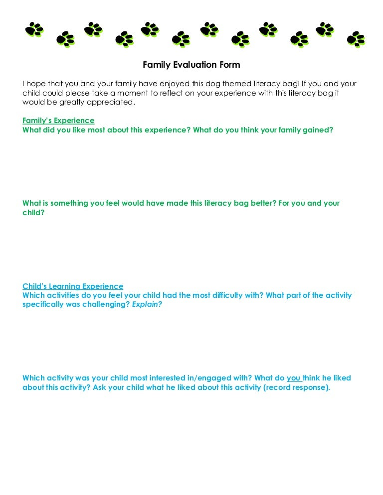 Family Evaluation Form