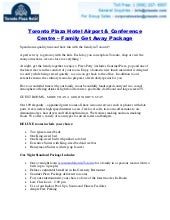 Toronto Plaza Hotel Airport & Conference Centre – Family Get Away Package