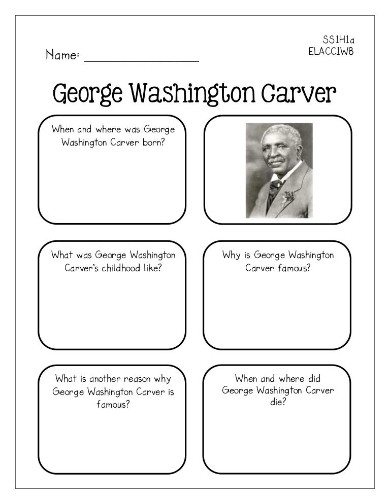 Famous americans graphic organizers – George Washington Carver Worksheets
