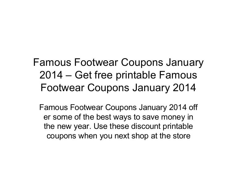 photograph regarding Printable Famous Footwear Coupon identified as Famed Sneakers Printable Discount codes Within just Retail outlet