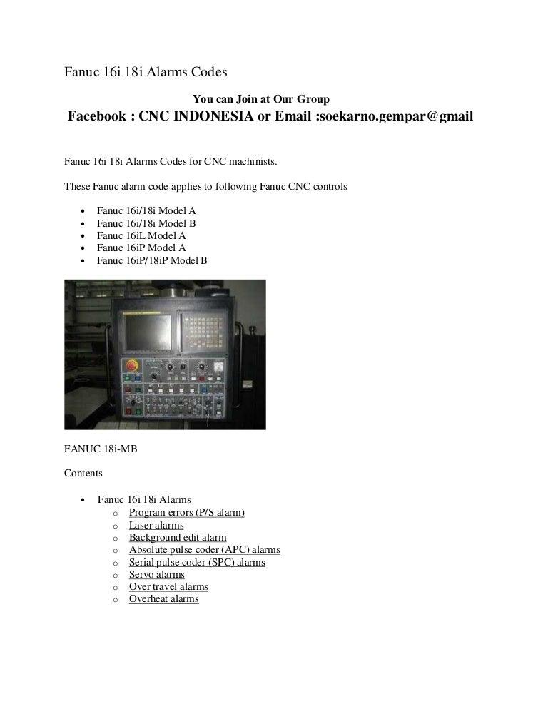 fanuc 16i 18i alarms rh slideshare net Fanuc Sealing Fanuc Robot Manuals PDF