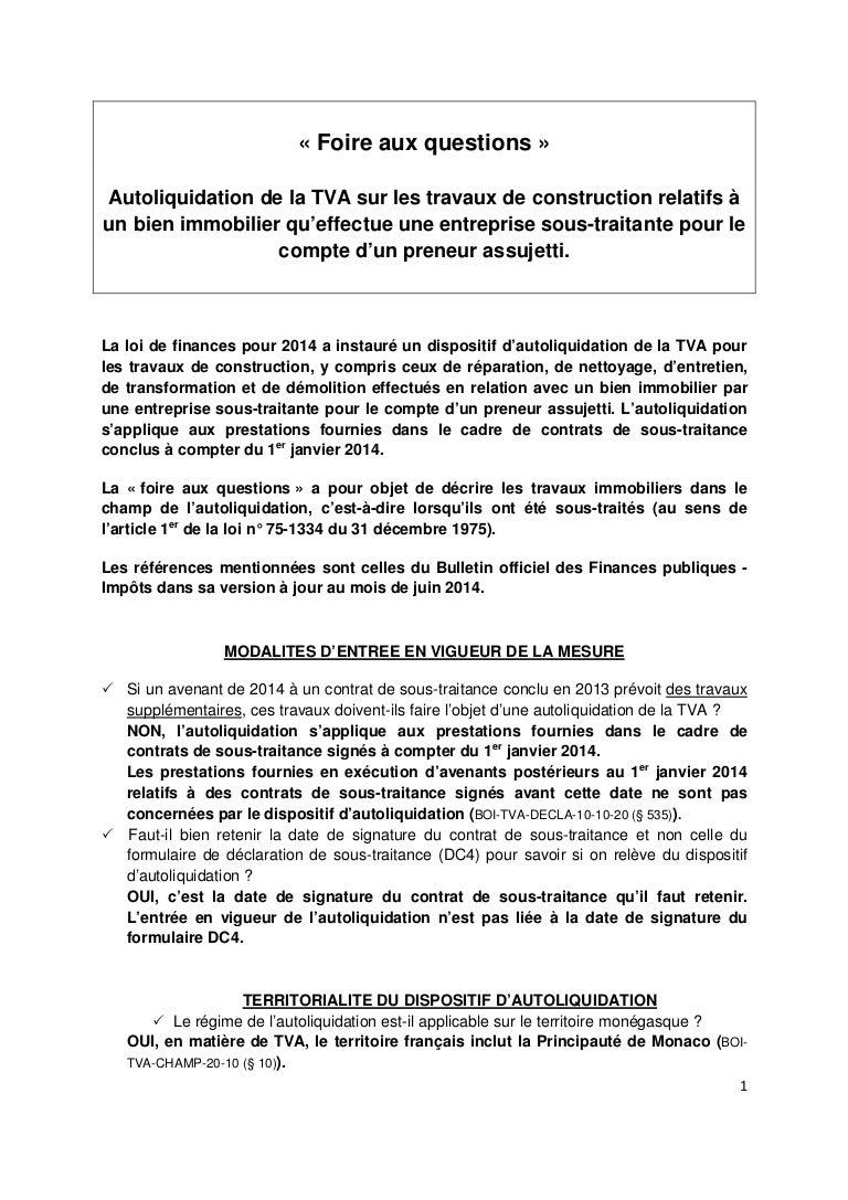 Faq Autoliquidation Travaux 2014 09