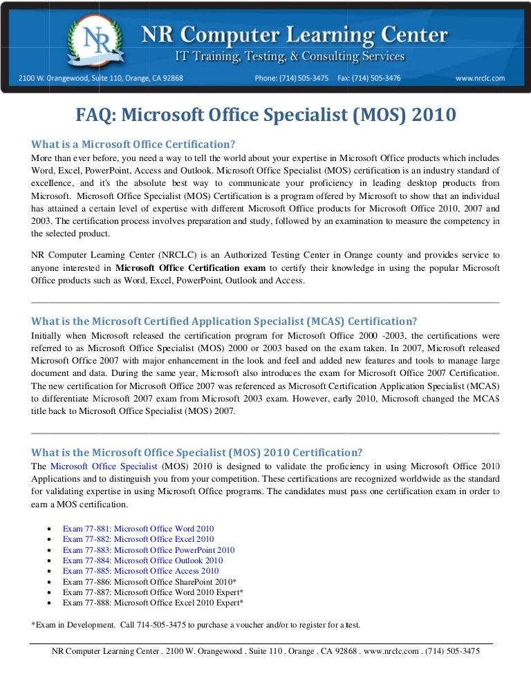 microsoft word 2010 certification