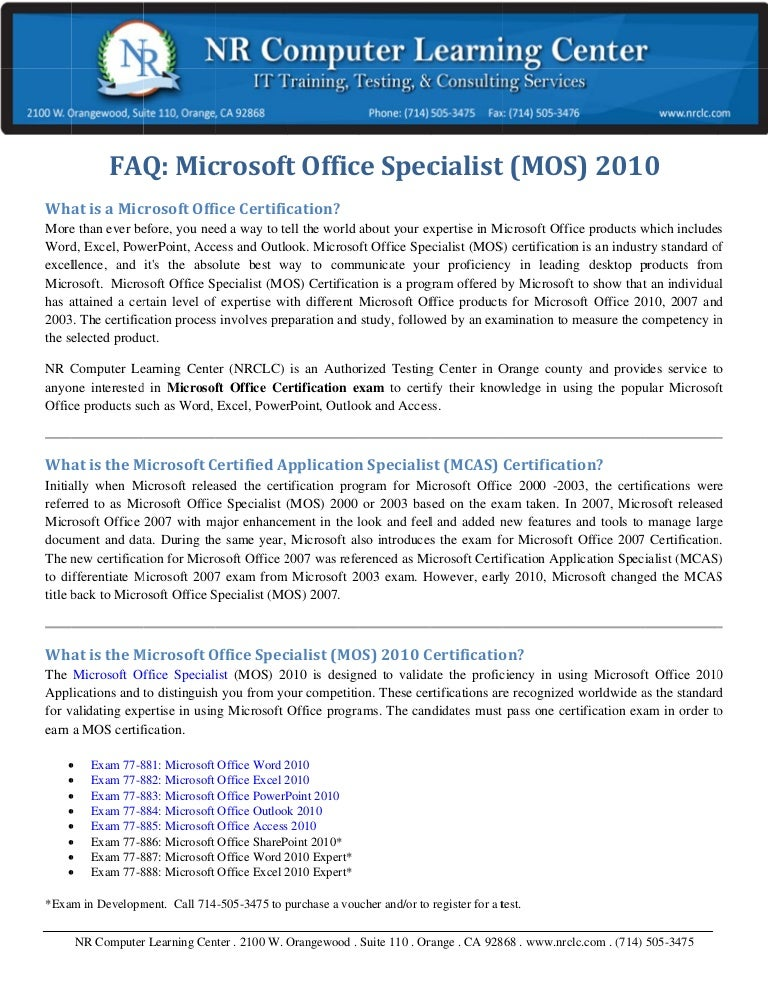What Is Microsoft Office Specialistmos