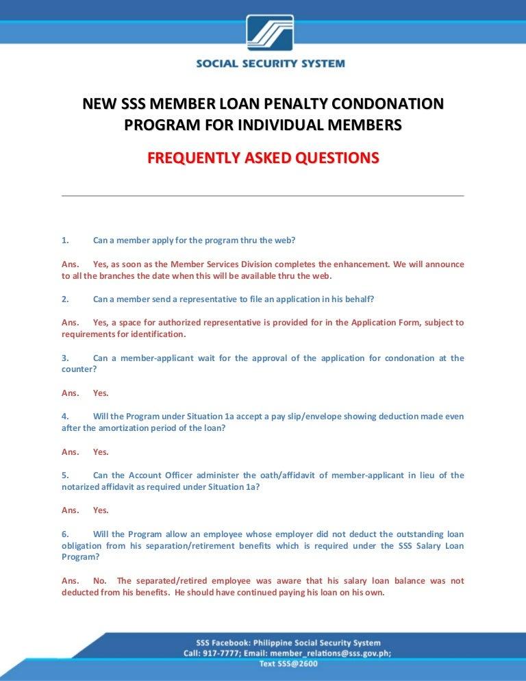 FAQs on the Condonation Program