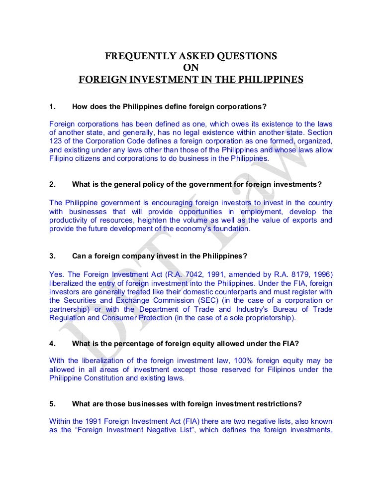 Fa qs on foreign investment in the philippines – Define Business Investment