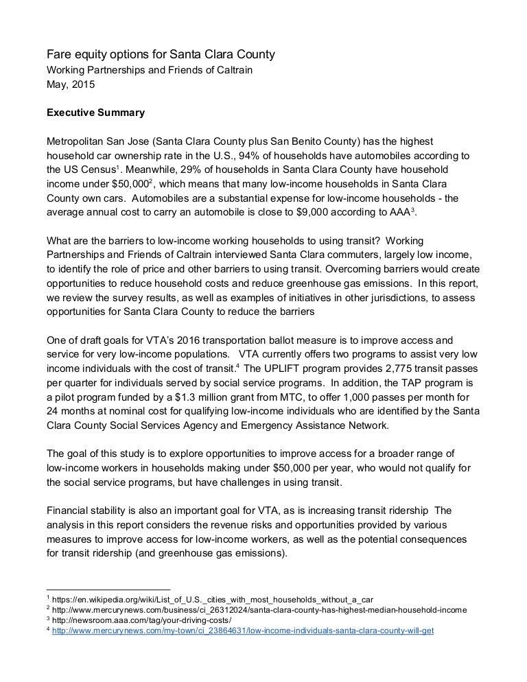Fare Equity Options for Santa Clara County