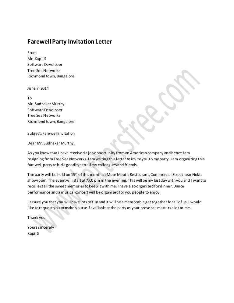 Farewell Party Invitation Letter Sample – Party Invitation App