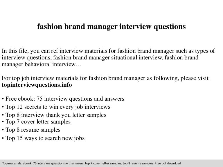 Fashion brand manager interview questions