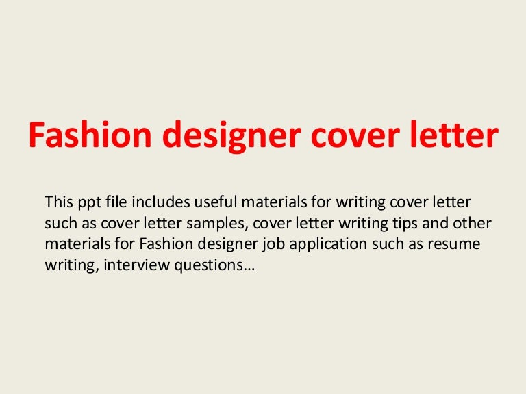 Fashion Designer Cover Letter