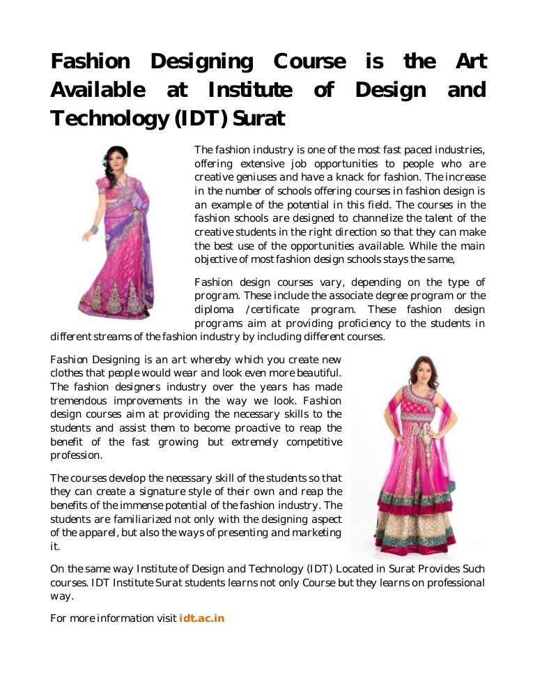 Fashion Designing Course Is The Art Available At Institute Of Design