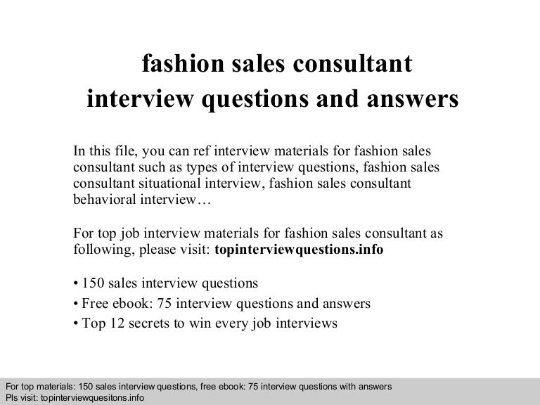 Fashion Sales Consultant Interview Questions And Answers