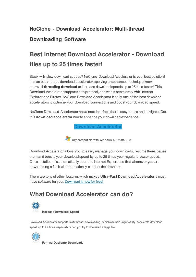 Fast best download accelerator from no clone