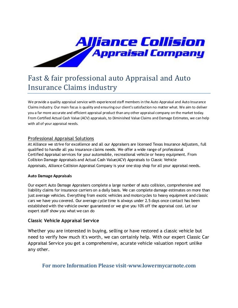 Fast & fair professional auto appraisal and auto insurance claims ind…