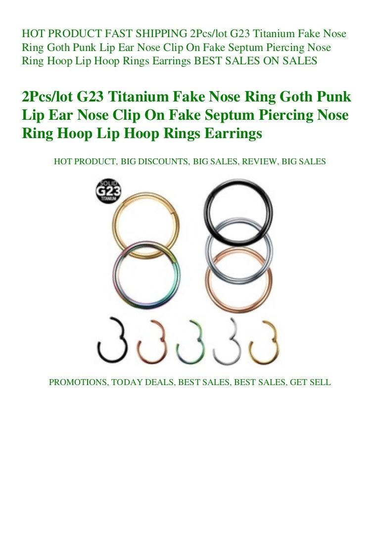 Fast Shipping 2pcslot G23 Titanium Fake Nose Ring Goth Punk Lip Ear N