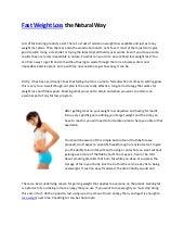 Fast weight loss the natural way