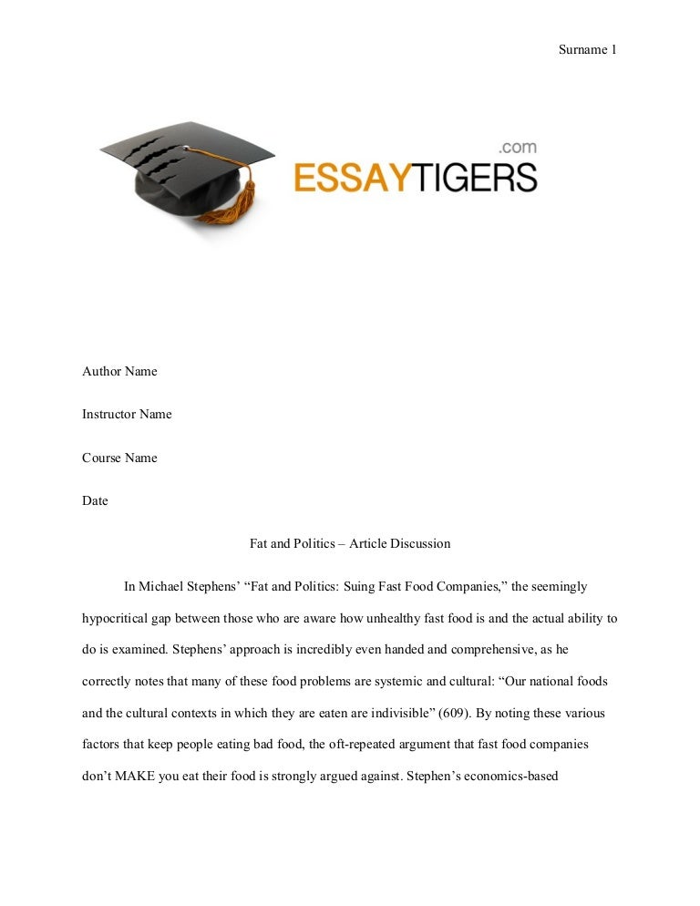 fat and politics article discussion essay sample