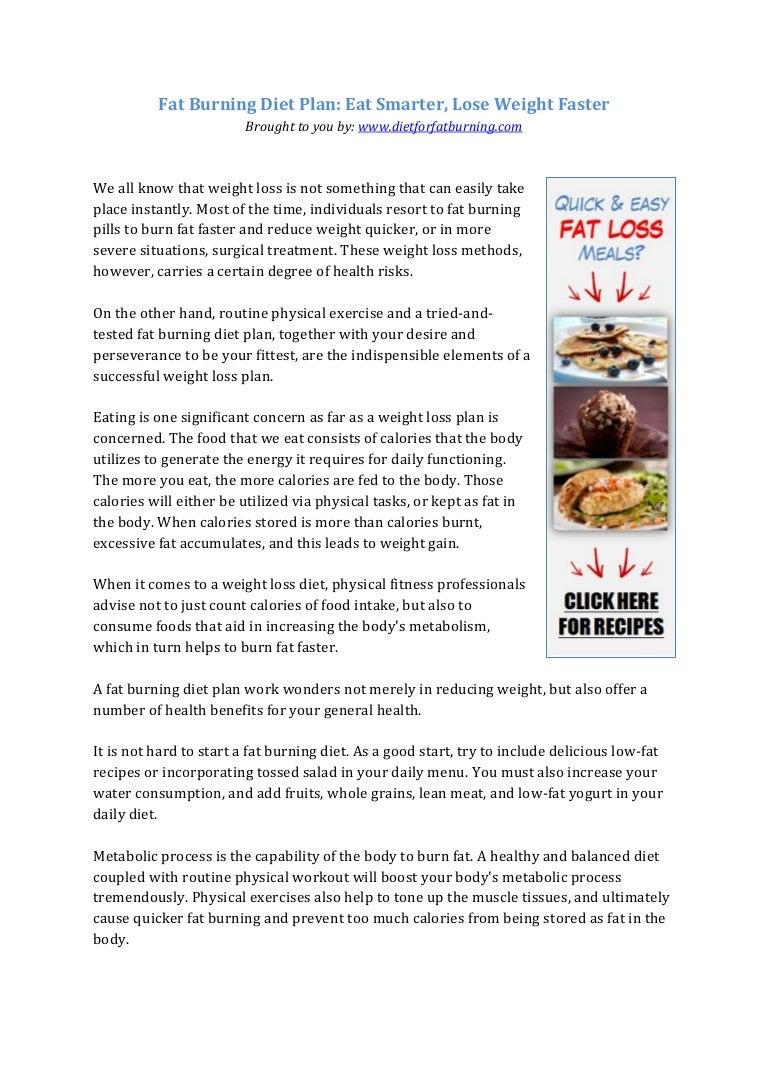 healthy fat burning diet plan