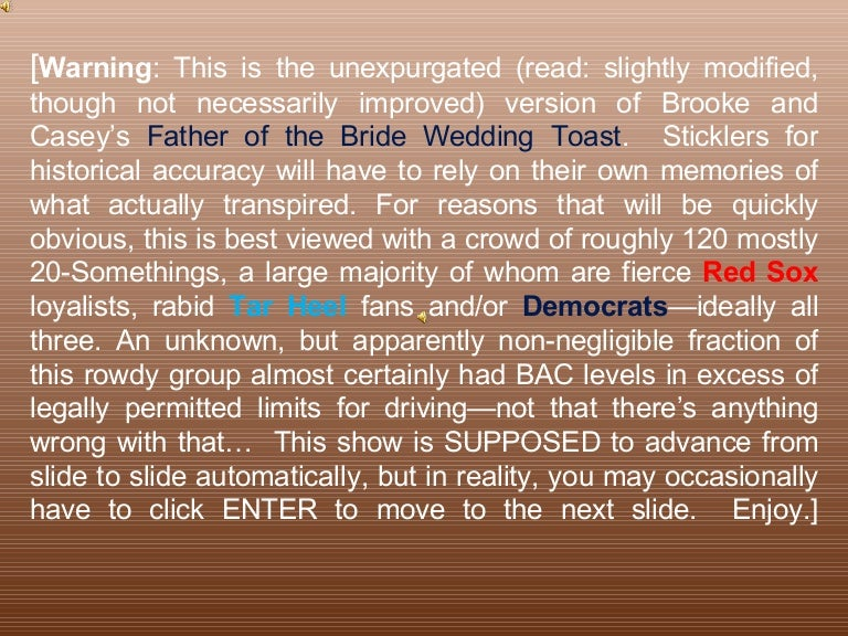 Father Of The Bride Wedding Toast DOWNLOAD To Hear Sound