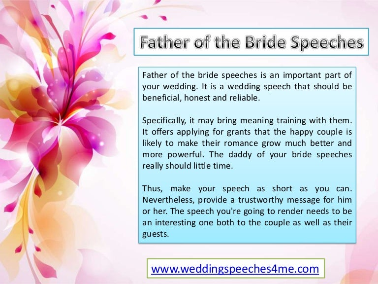 Father Of Bride Speeches - Useful Ideas