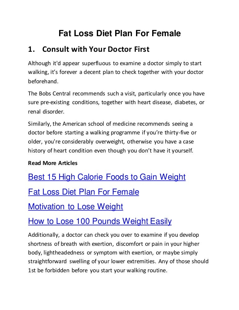 Fat Lose Diet Plan For Female
