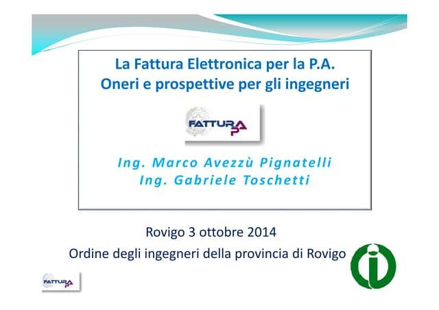 Fatturazione elettronica pa (fatturaPA) - Ordine ingegneri Rovigo