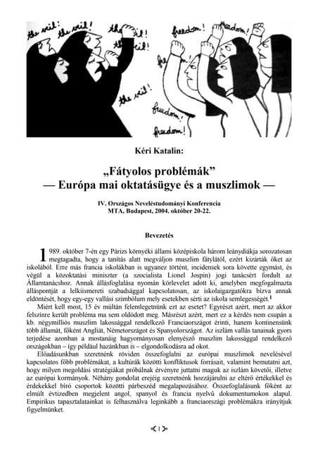 """""""Fátyolos problémák"""" (Európa mai oktatásügye és a muszlimok)"""