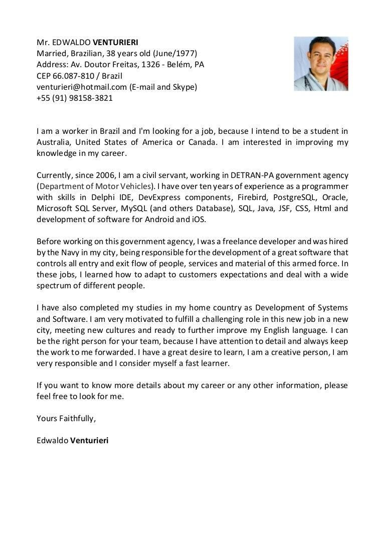 Edwaldo Venturieri - Cover letter