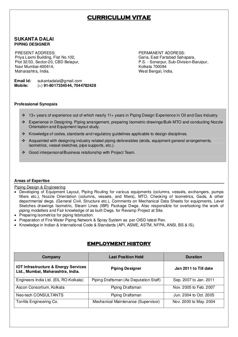 cv sukanta dalai  piping designer