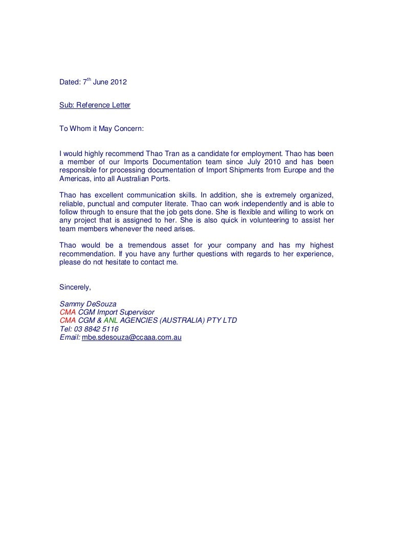 reference letter cma
