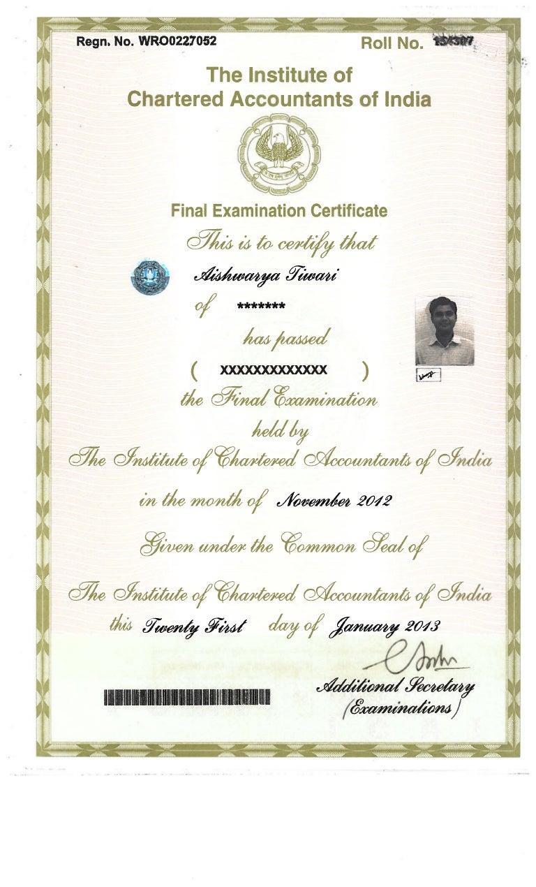 ca final passing certificate pdf