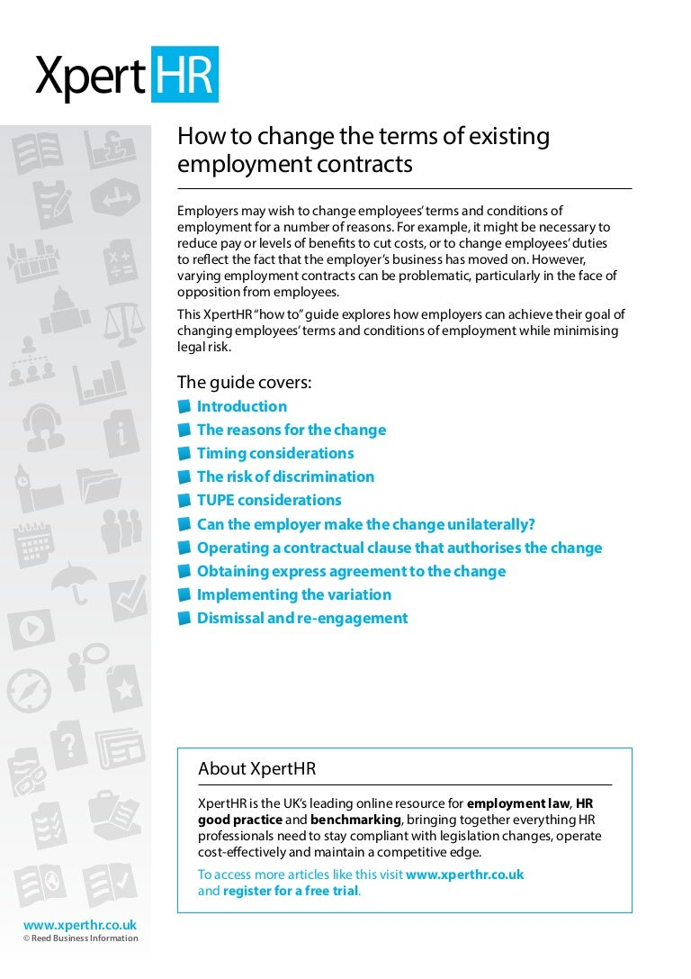 How To Change The Terms Of Existing Employment Contracts