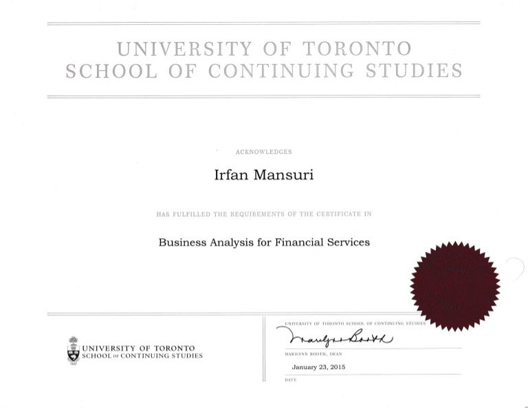 Certificate Business Analysis In Financial Services University Of Tor