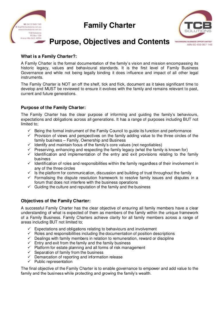 20160618 Family Charter Summary
