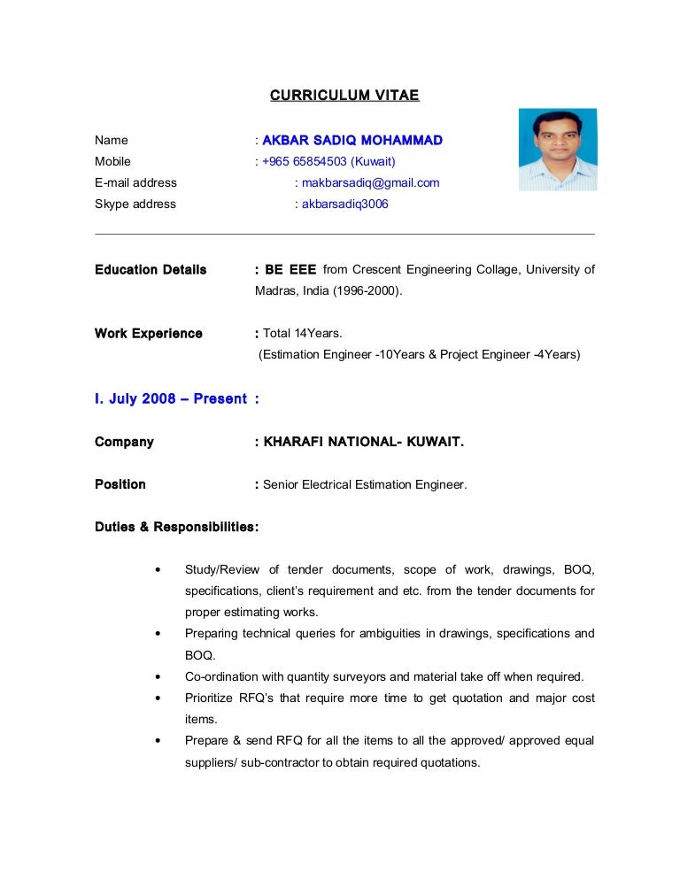Cv electrical estimation engineer yelopaper Image collections