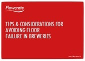 Tips and Considerations for Avoiding Floor Failure in Breweries
