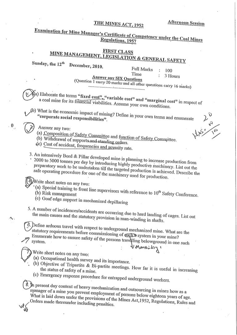 First class mine manager exam ur legislation question papers 2002 yadclub Image collections