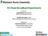 FCC Rural Broadband Experiments